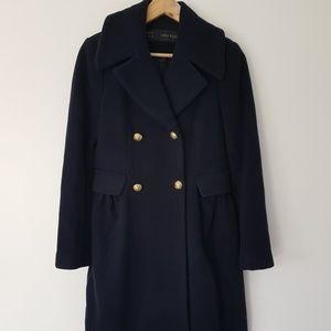 Zara navy wool coat XS